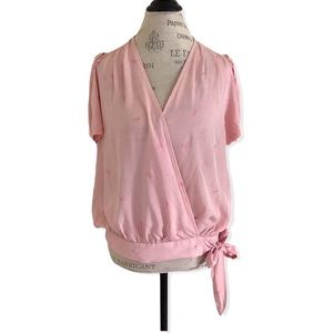 Luna Mood Dragonfly Light Pink Wrap Top with Tie